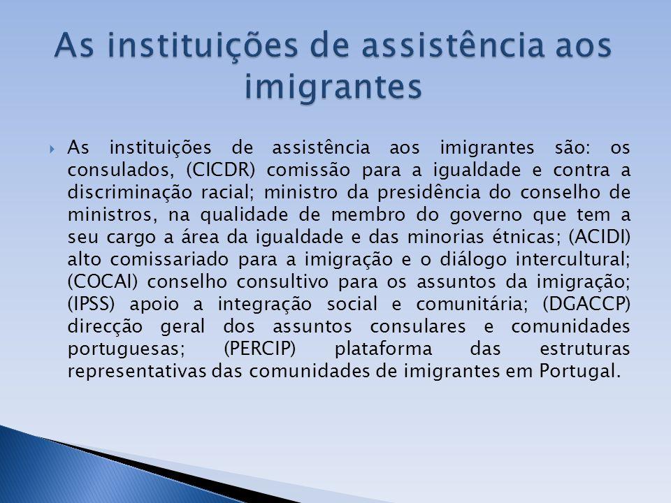 As instituições de assistência aos imigrantes são: os consulados, (CICDR) comissão para a igualdade e contra a discriminação racial; ministro da presi