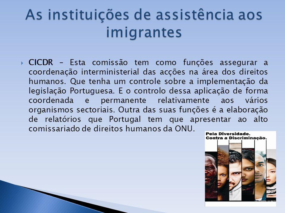 CICDR – Esta comissão tem como funções assegurar a coordenação interministerial das acções na área dos direitos humanos. Que tenha um controle sobre a