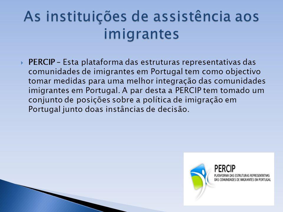 PERCIP – Esta plataforma das estruturas representativas das comunidades de imigrantes em Portugal tem como objectivo tomar medidas para uma melhor int