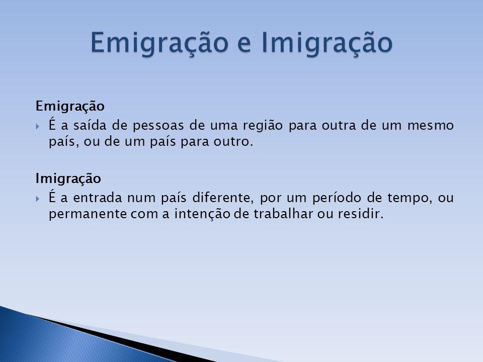 Emigração É a saída de pessoas de uma região para outra de um mesmo país, ou de um país para outro. Imigração É a entrada num país diferente, por um p