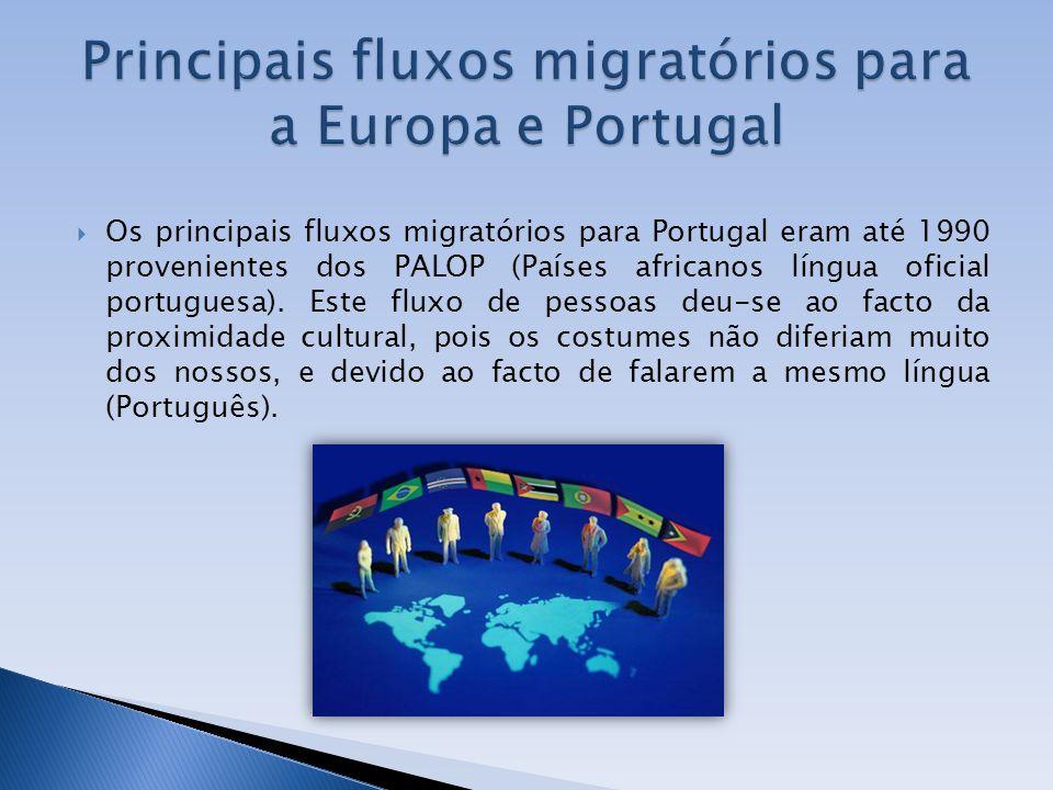 Os principais fluxos migratórios para Portugal eram até 1990 provenientes dos PALOP (Países africanos língua oficial portuguesa). Este fluxo de pessoa