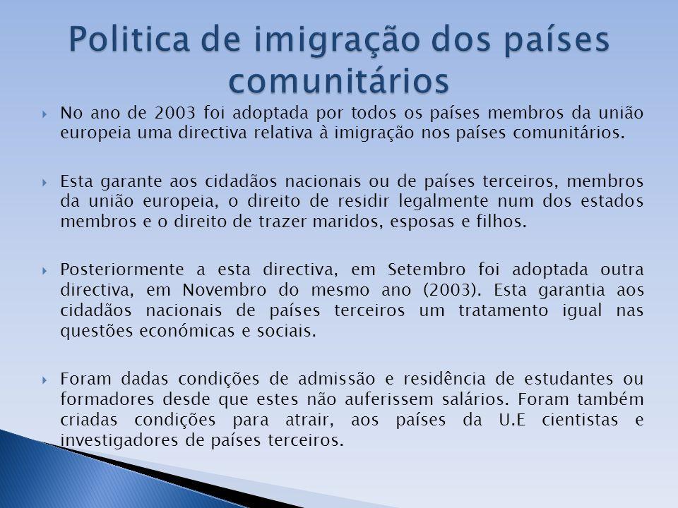 No ano de 2003 foi adoptada por todos os países membros da união europeia uma directiva relativa à imigração nos países comunitários. Esta garante aos