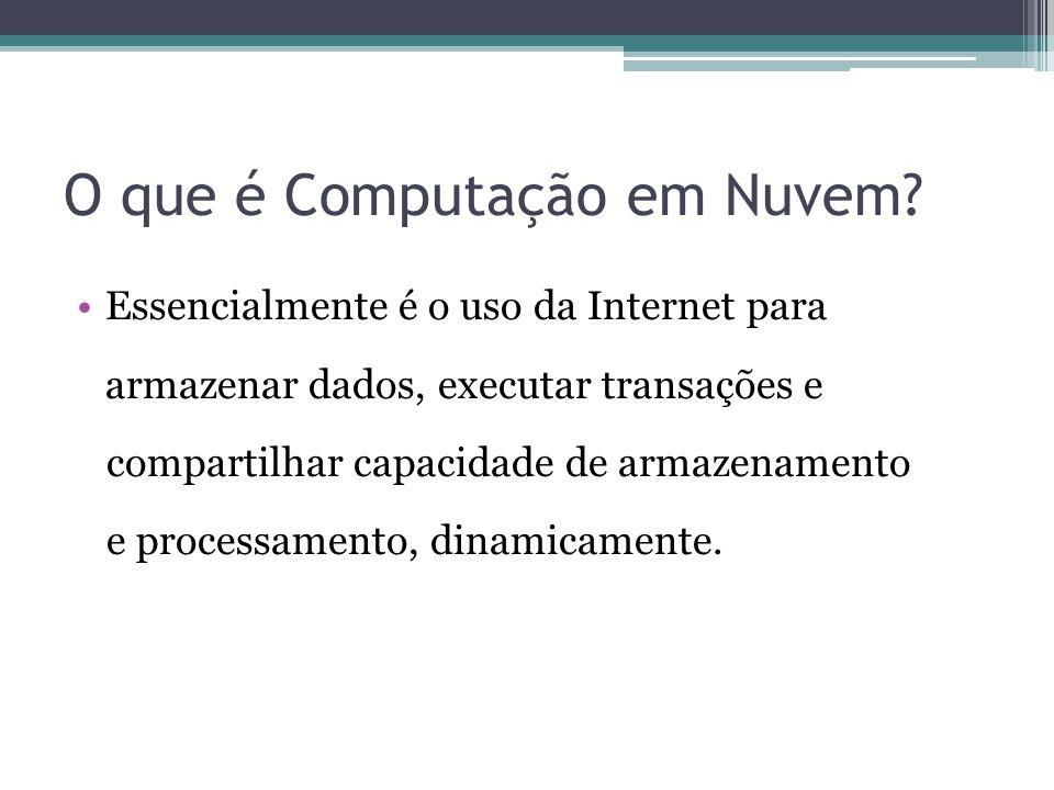 O que é Computação em Nuvem? Essencialmente é o uso da Internet para armazenar dados, executar transações e compartilhar capacidade de armazenamento e