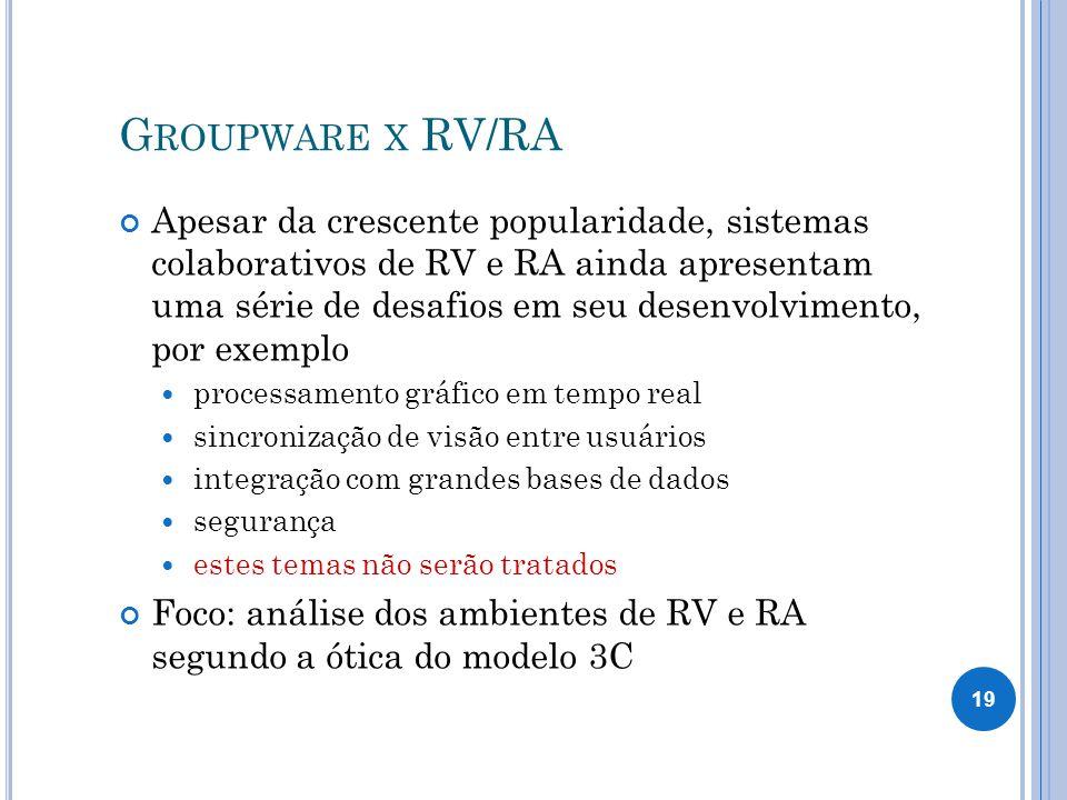 G ROUPWARE X RV/RA Apesar da crescente popularidade, sistemas colaborativos de RV e RA ainda apresentam uma série de desafios em seu desenvolvimento, por exemplo processamento gráfico em tempo real sincronização de visão entre usuários integração com grandes bases de dados segurança estes temas não serão tratados Foco: análise dos ambientes de RV e RA segundo a ótica do modelo 3C 19