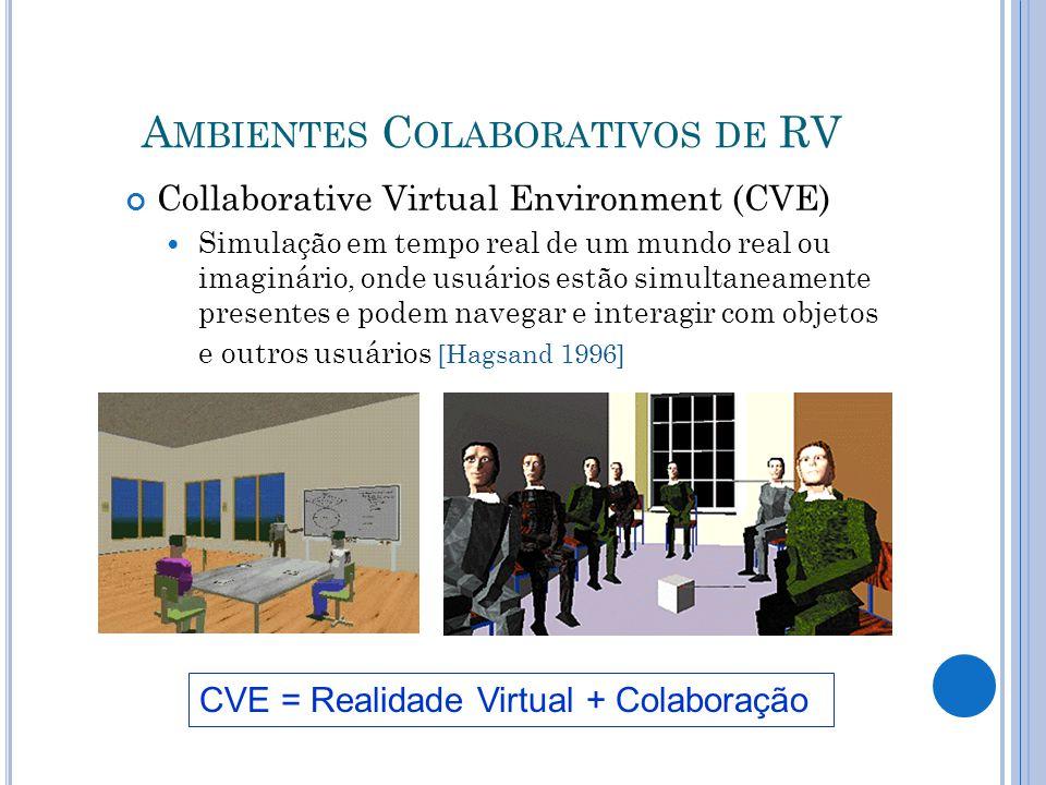 A MBIENTES C OLABORATIVOS DE RV Collaborative Virtual Environment (CVE) Simulação em tempo real de um mundo real ou imaginário, onde usuários estão simultaneamente presentes e podem navegar e interagir com objetos e outros usuários [Hagsand 1996] CVE = Realidade Virtual + Colaboração 20