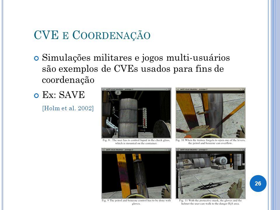 CVE E C OORDENAÇÃO Simulações militares e jogos multi-usuários são exemplos de CVEs usados para fins de coordenação Ex: SAVE [Holm et al.