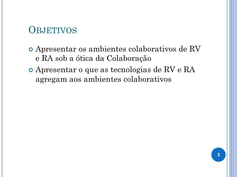 O BJETIVOS Apresentar os ambientes colaborativos de RV e RA sob a ótica da Colaboração Apresentar o que as tecnologias de RV e RA agregam aos ambientes colaborativos 3