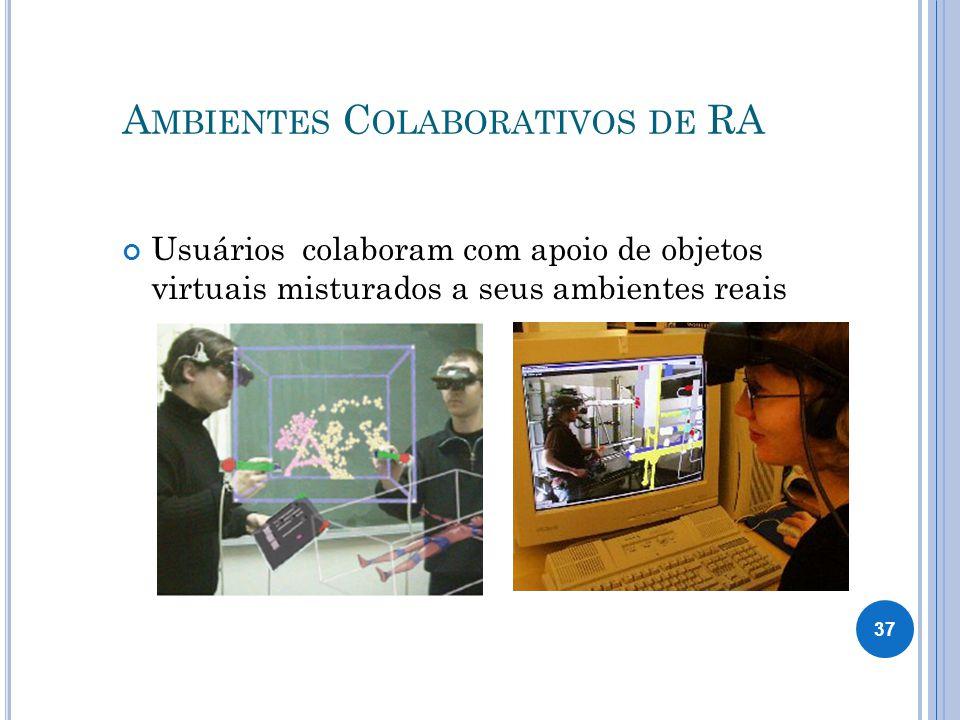 A MBIENTES C OLABORATIVOS DE RA Usuários colaboram com apoio de objetos virtuais misturados a seus ambientes reais 37
