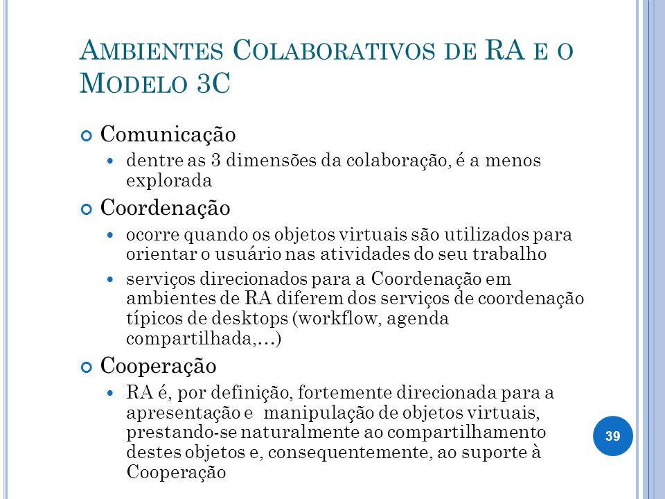 A MBIENTES C OLABORATIVOS DE RA E O M ODELO 3C Comunicação dentre as 3 dimensões da colaboração, é a menos explorada Coordenação ocorre quando os objetos virtuais são utilizados para orientar o usuário nas atividades do seu trabalho serviços direcionados para a Coordenação em ambientes de RA diferem dos serviços de coordenação típicos de desktops (workflow, agenda compartilhada,…) Cooperação RA é, por definição, fortemente direcionada para a apresentação e manipulação de objetos virtuais, prestando-se naturalmente ao compartilhamento destes objetos e, consequentemente, ao suporte à Cooperação 39