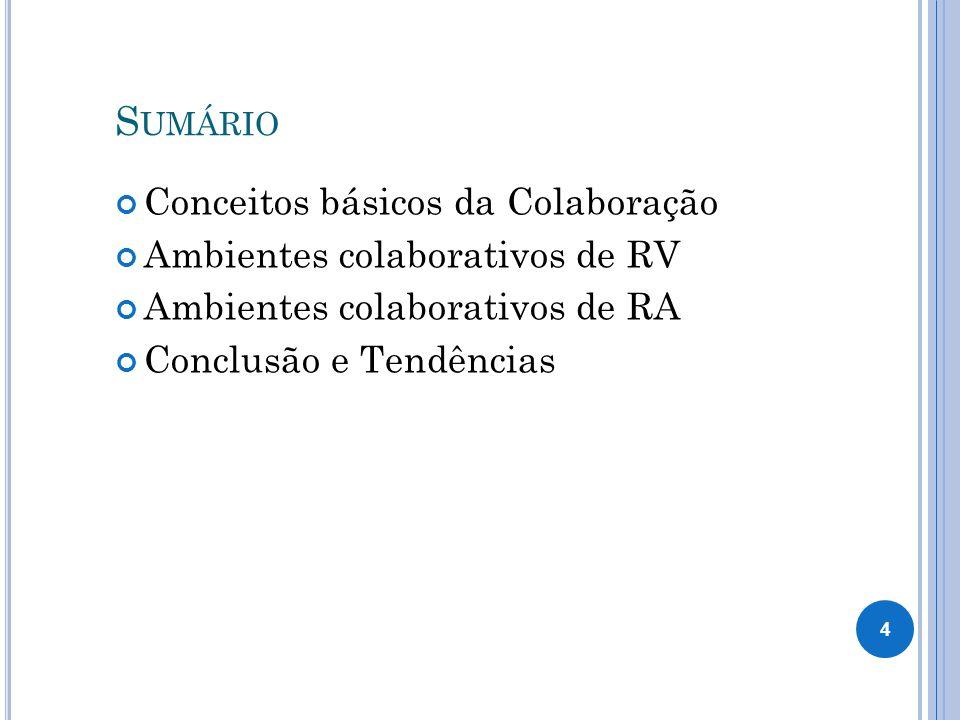 S UMÁRIO Conceitos básicos da Colaboração Ambientes colaborativos de RV Ambientes colaborativos de RA Conclusão e Tendências 4