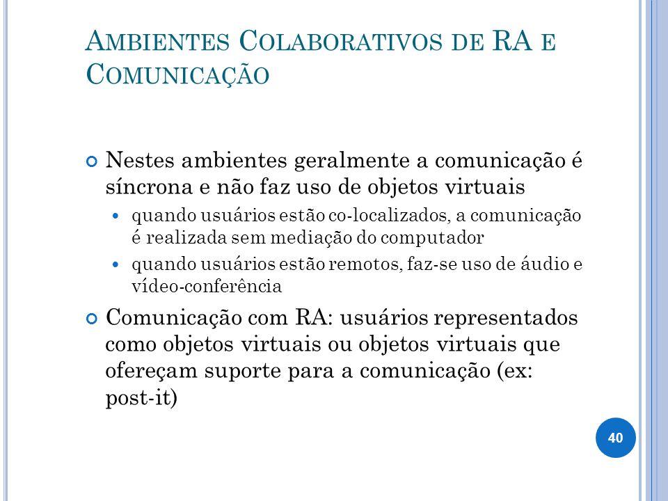 A MBIENTES C OLABORATIVOS DE RA E C OMUNICAÇÃO Nestes ambientes geralmente a comunicação é síncrona e não faz uso de objetos virtuais quando usuários estão co-localizados, a comunicação é realizada sem mediação do computador quando usuários estão remotos, faz-se uso de áudio e vídeo-conferência Comunicação com RA: usuários representados como objetos virtuais ou objetos virtuais que ofereçam suporte para a comunicação (ex: post-it) 40