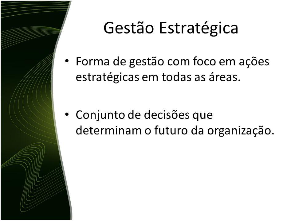 Gestão Estratégica Forma de gestão com foco em ações estratégicas em todas as áreas. Conjunto de decisões que determinam o futuro da organização.