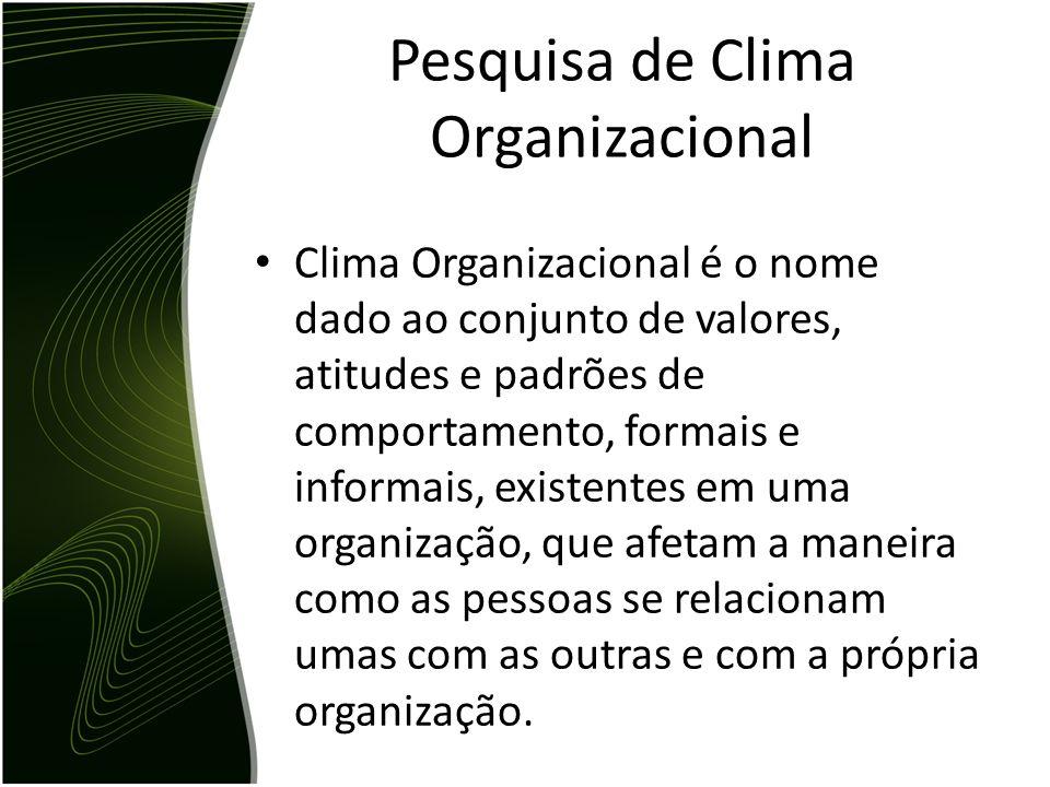 Pesquisa de Clima Organizacional Clima Organizacional é o nome dado ao conjunto de valores, atitudes e padrões de comportamento, formais e informais,