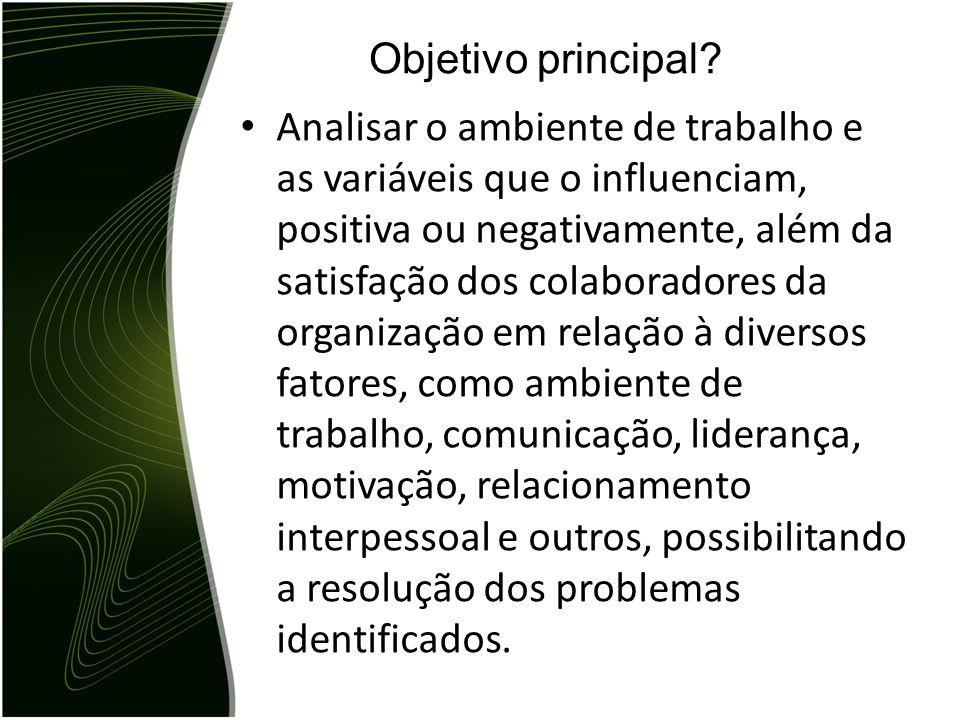Analisar o ambiente de trabalho e as variáveis que o influenciam, positiva ou negativamente, além da satisfação dos colaboradores da organização em re