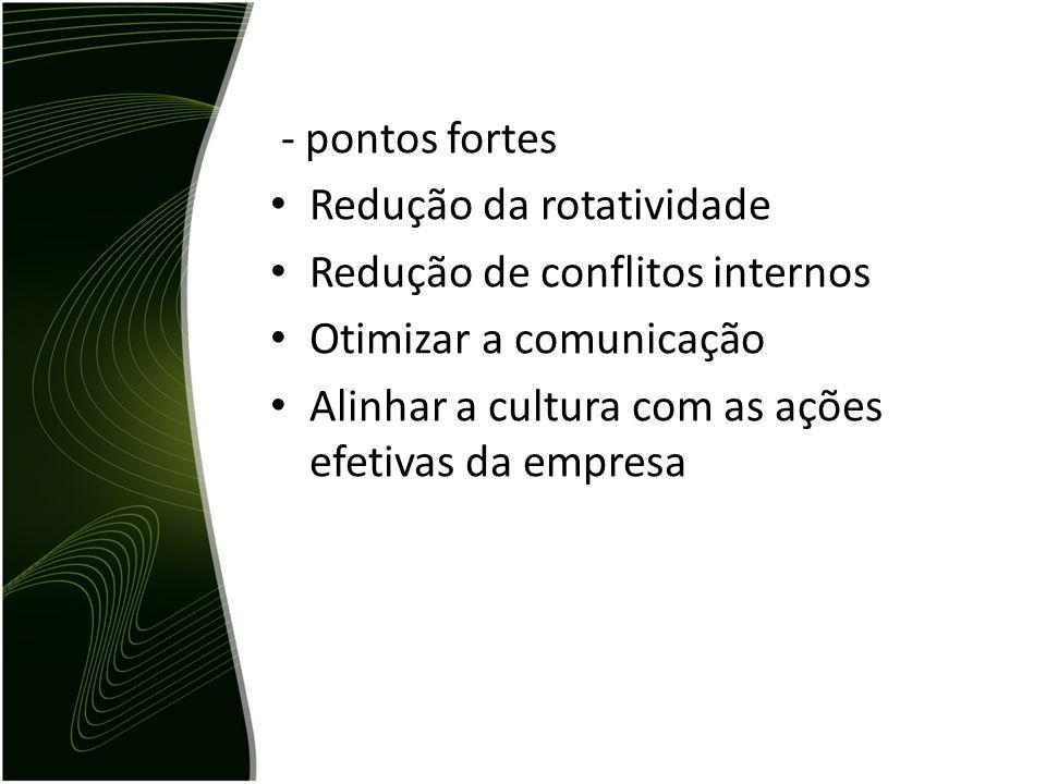 - pontos fortes Redução da rotatividade Redução de conflitos internos Otimizar a comunicação Alinhar a cultura com as ações efetivas da empresa