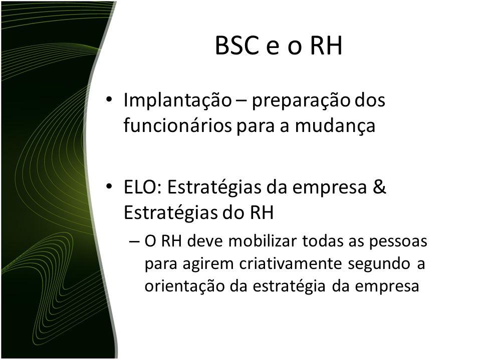 BSC e o RH Implantação – preparação dos funcionários para a mudança ELO: Estratégias da empresa & Estratégias do RH – O RH deve mobilizar todas as pes