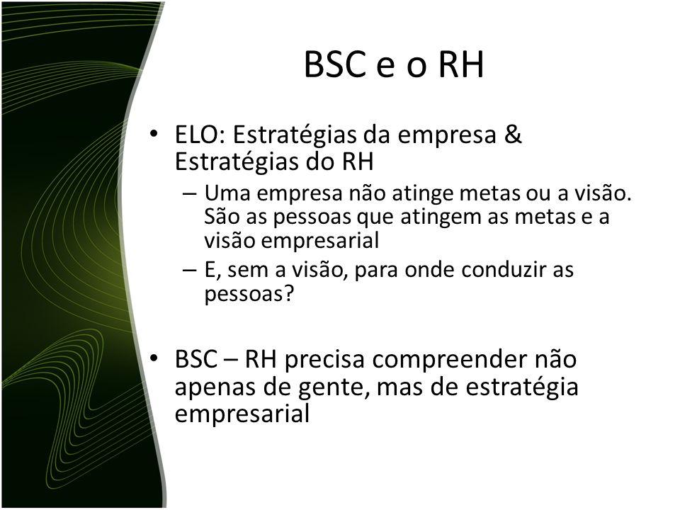 BSC e o RH ELO: Estratégias da empresa & Estratégias do RH – Uma empresa não atinge metas ou a visão. São as pessoas que atingem as metas e a visão em