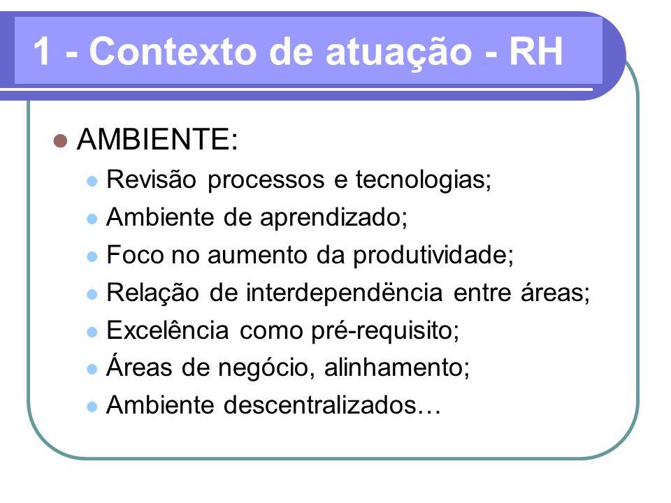 AMBIENTE: Revisão processos e tecnologias; Ambiente de aprendizado; Foco no aumento da produtividade; Relação de interdependëncia entre áreas; Excelên