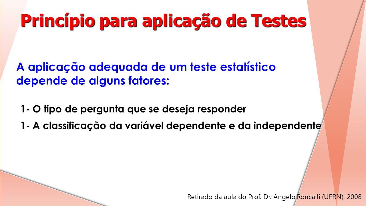 A aplicação adequada de um teste estatístico depende de alguns fatores: 1- O tipo de pergunta que se deseja responder 1- A classificação da variável d