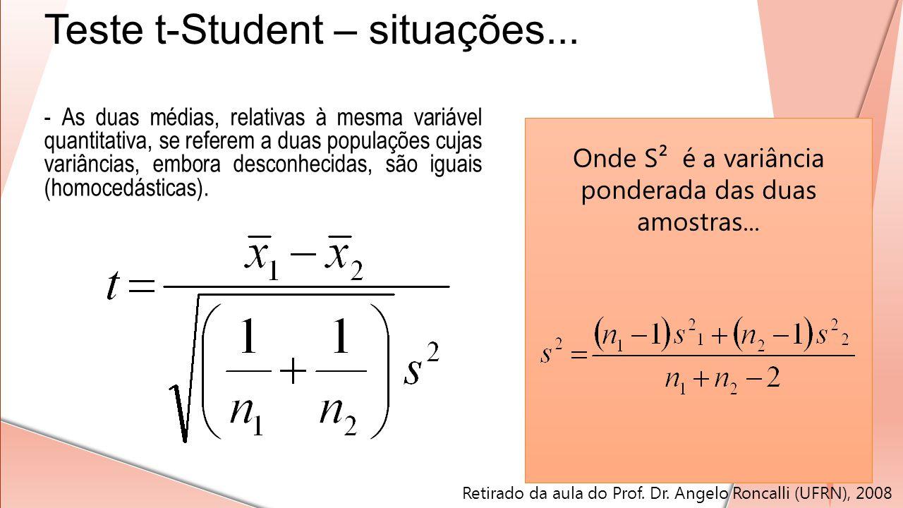 - As duas médias, relativas à mesma variável quantitativa, se referem a duas populações cujas variâncias, embora desconhecidas, são iguais (homocedást