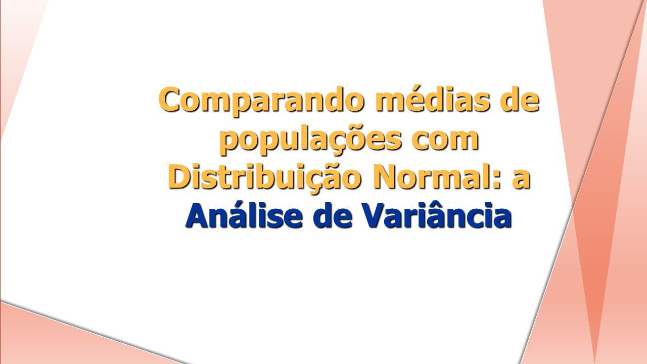 Comparando médias de populações com Distribuição Normal: a Análise de Variância