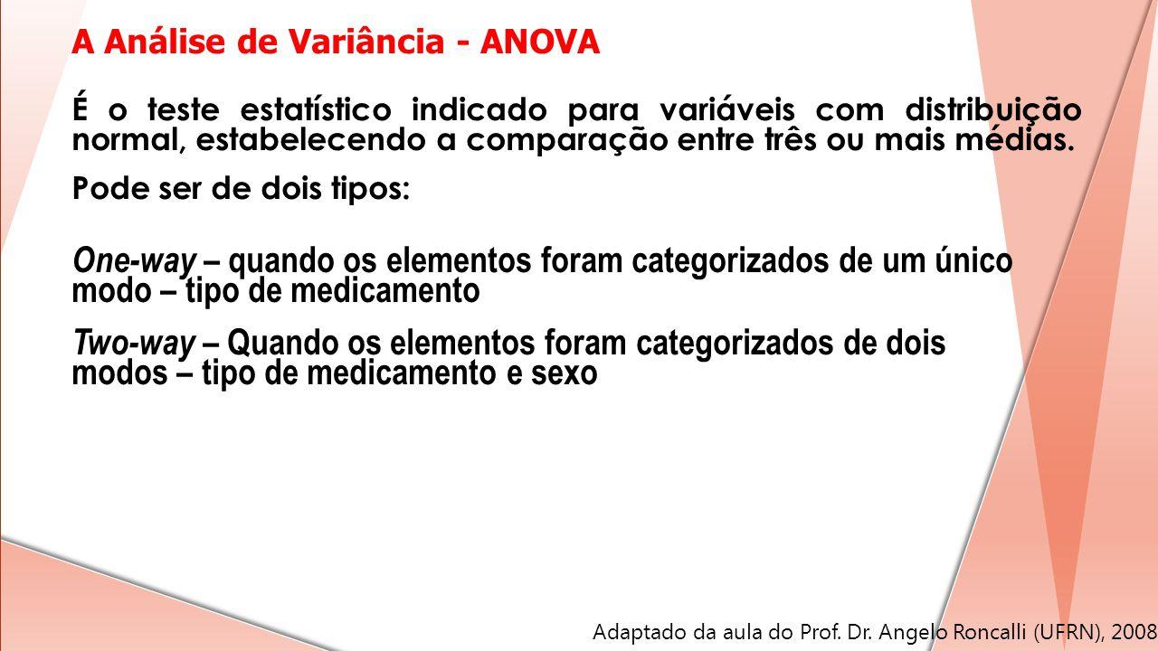 A Análise de Variância - ANOVA One-way – quando os elementos foram categorizados de um único modo – tipo de medicamento Two-way – Quando os elementos