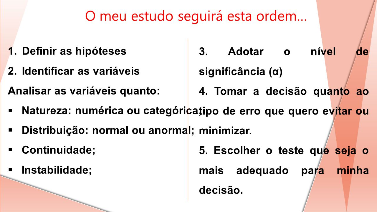O meu estudo seguirá esta ordem… 1.Definir as hipóteses 2.Identificar as variáveis Analisar as variáveis quanto: Natureza: numérica ou categórica; Dis