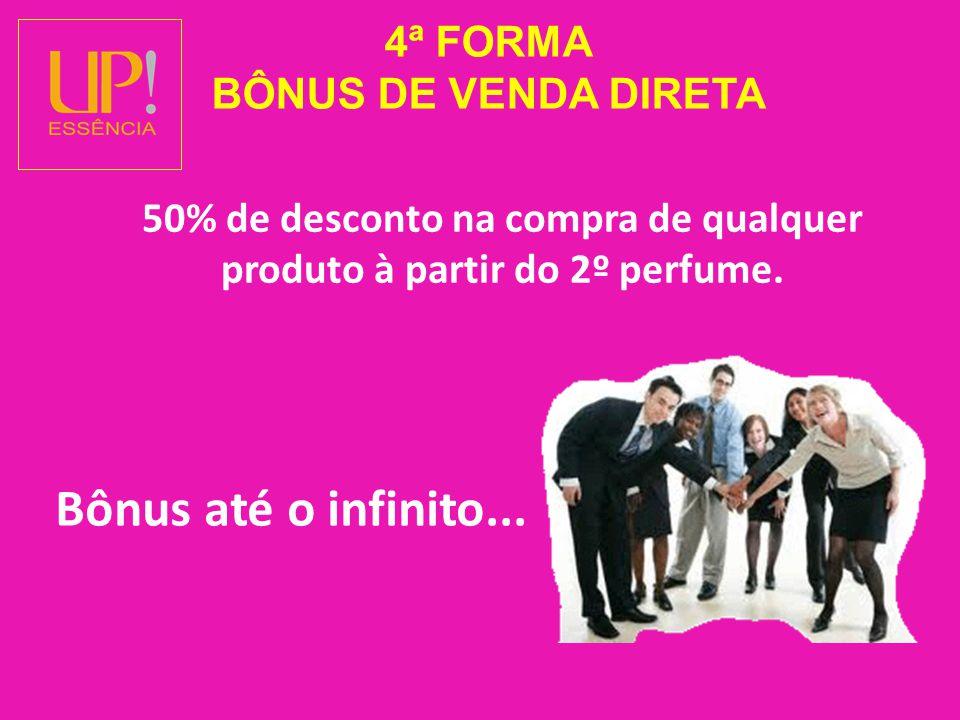 4ª FORMA BÔNUS DE VENDA DIRETA 50% de desconto na compra de qualquer produto à partir do 2º perfume.