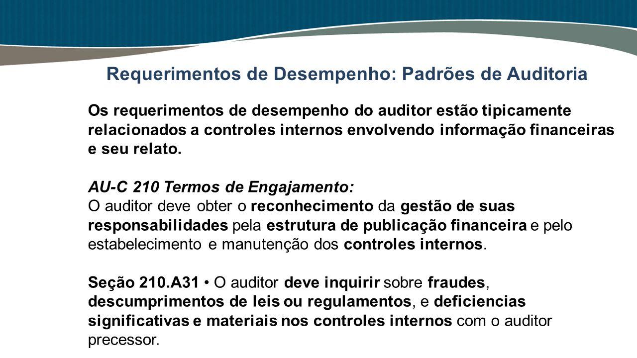 Os requerimentos de desempenho do auditor estão tipicamente relacionados a controles internos envolvendo informação financeiras e seu relato. AU-C 210