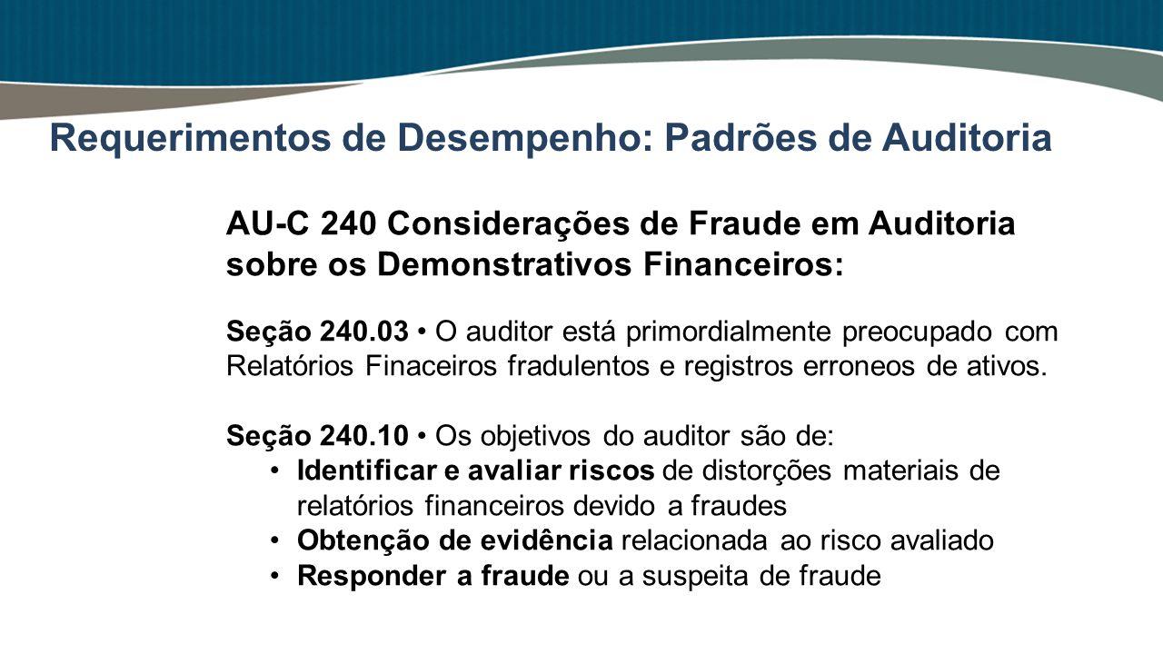 AU-C 240 Considerações de Fraude em Auditoria sobre os Demonstrativos Financeiros: Seção 240.03 O auditor está primordialmente preocupado com Relatóri