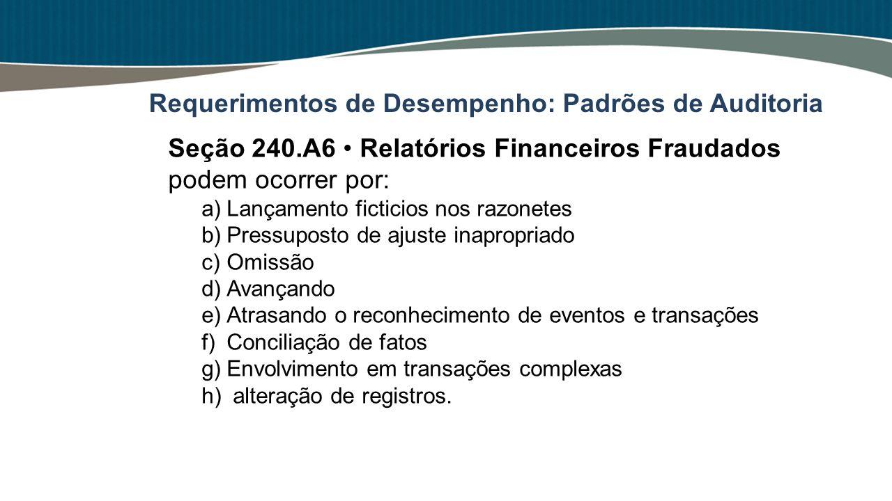 Seção 240.A6 Relatórios Financeiros Fraudados podem ocorrer por: a)Lançamento ficticios nos razonetes b)Pressuposto de ajuste inapropriado c)Omissão d