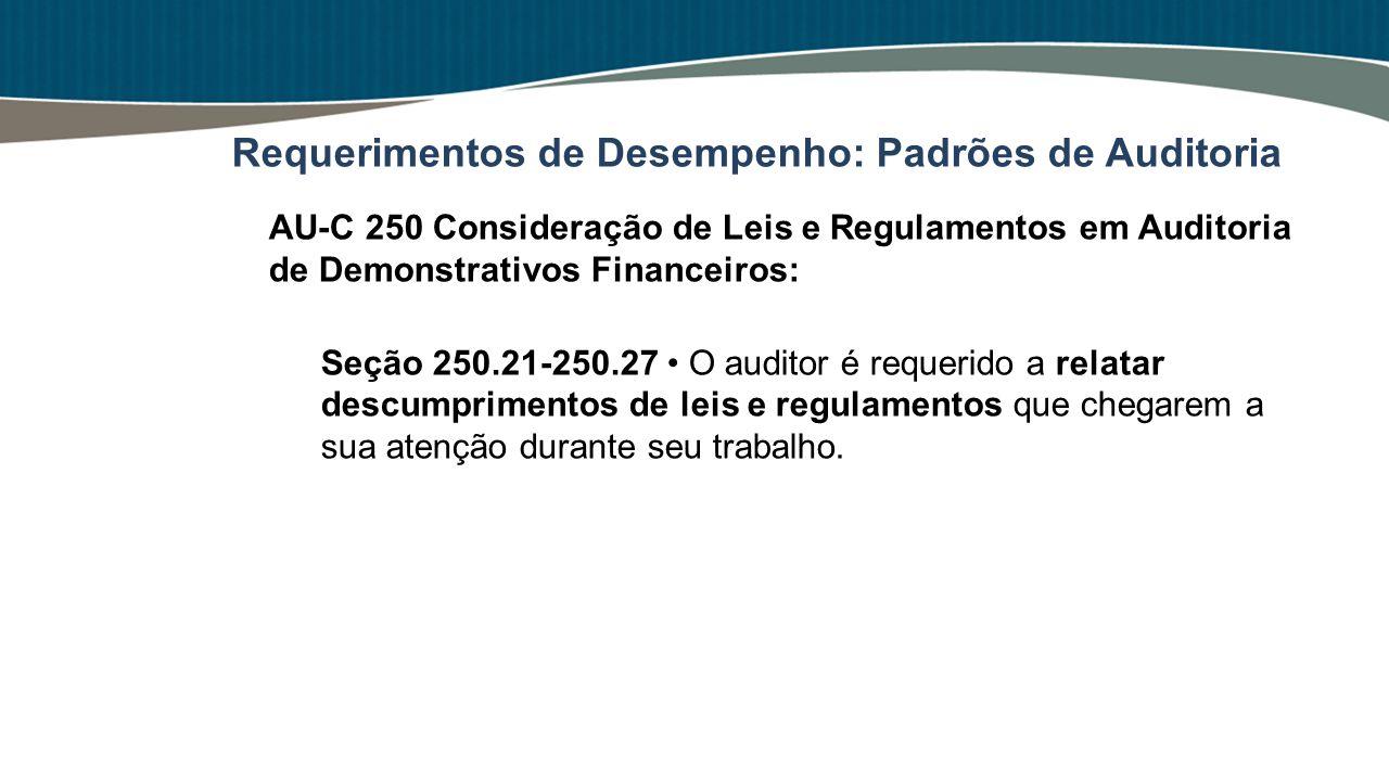 AU-C 250 Consideração de Leis e Regulamentos em Auditoria de Demonstrativos Financeiros: Seção 250.21-250.27 O auditor é requerido a relatar descumpri