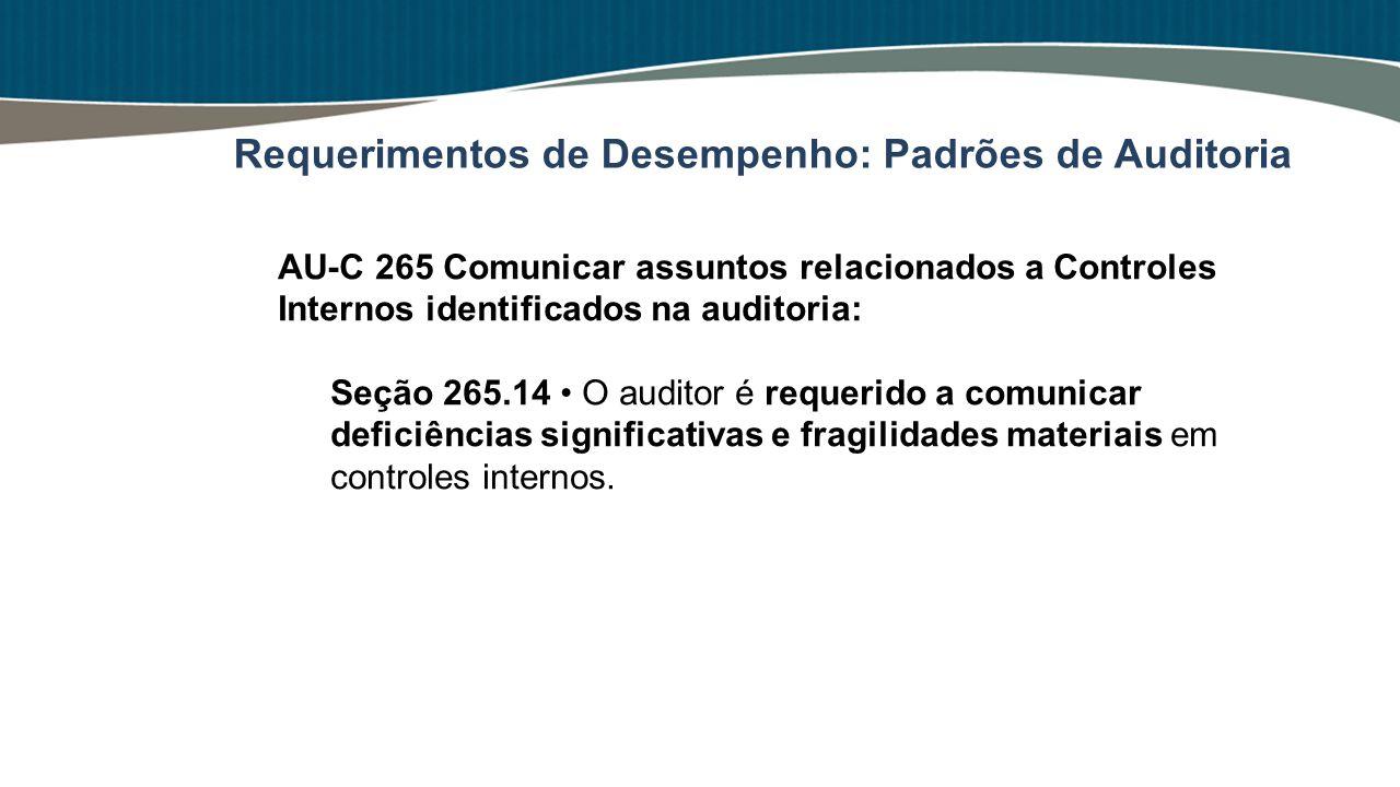 AU-C 265 Comunicar assuntos relacionados a Controles Internos identificados na auditoria: Seção 265.14 O auditor é requerido a comunicar deficiências