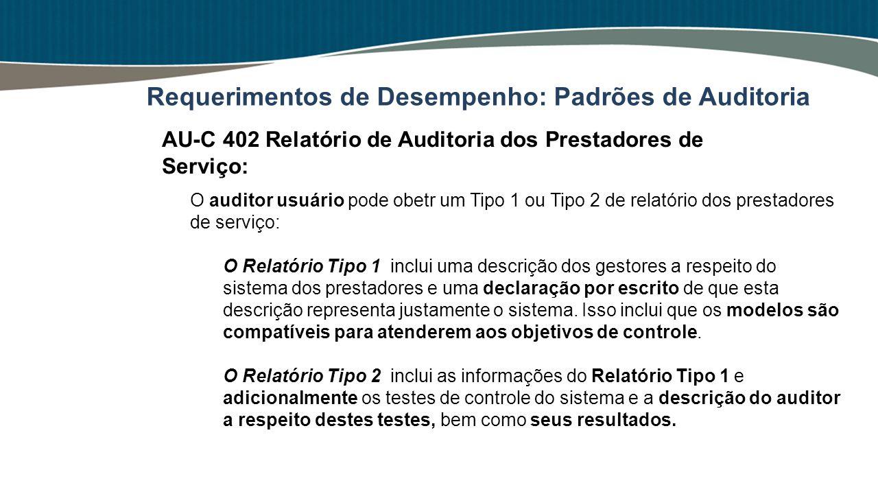 O auditor usuário pode obetr um Tipo 1 ou Tipo 2 de relatório dos prestadores de serviço: O Relatório Tipo 1 inclui uma descrição dos gestores a respe