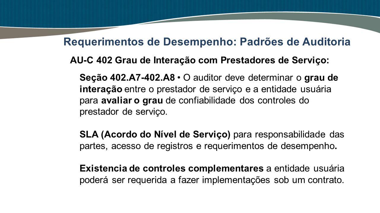 Seção 402.A7-402.A8 O auditor deve determinar o grau de interação entre o prestador de serviço e a entidade usuária para avaliar o grau de confiabilid