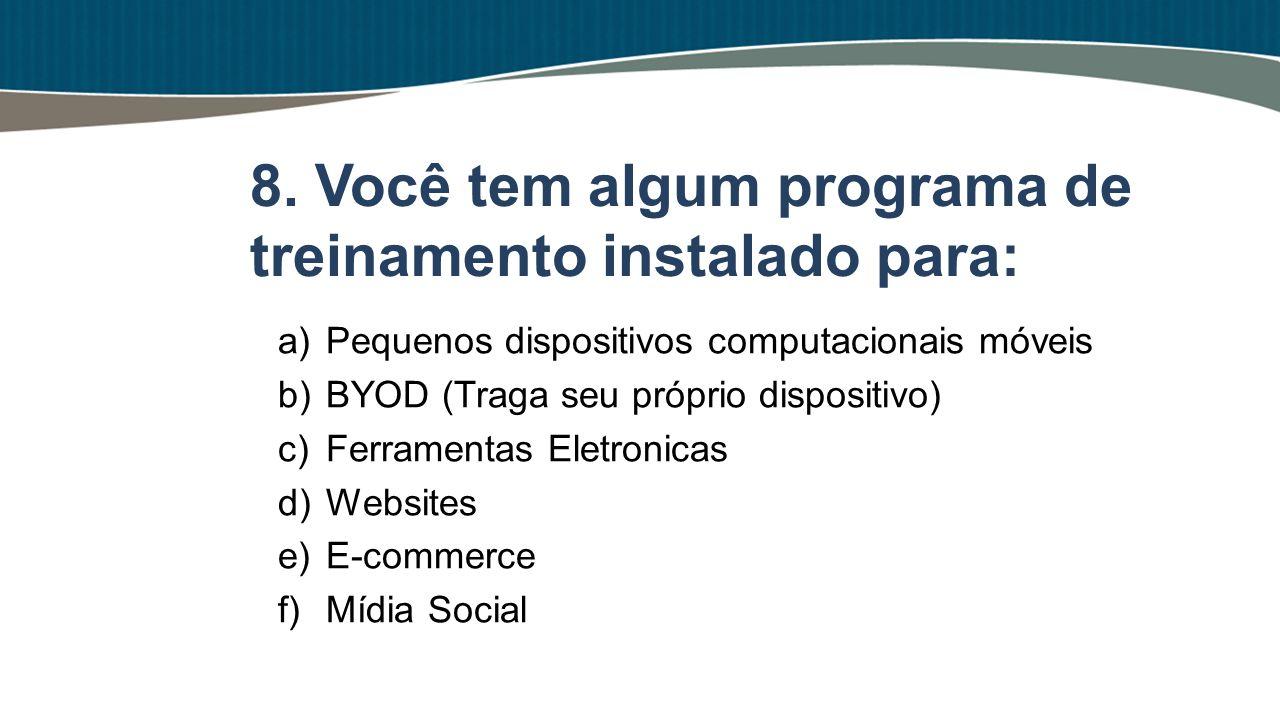 a)Pequenos dispositivos computacionais móveis b)BYOD (Traga seu próprio dispositivo) c)Ferramentas Eletronicas d)Websites e)E-commerce f)Mídia Social