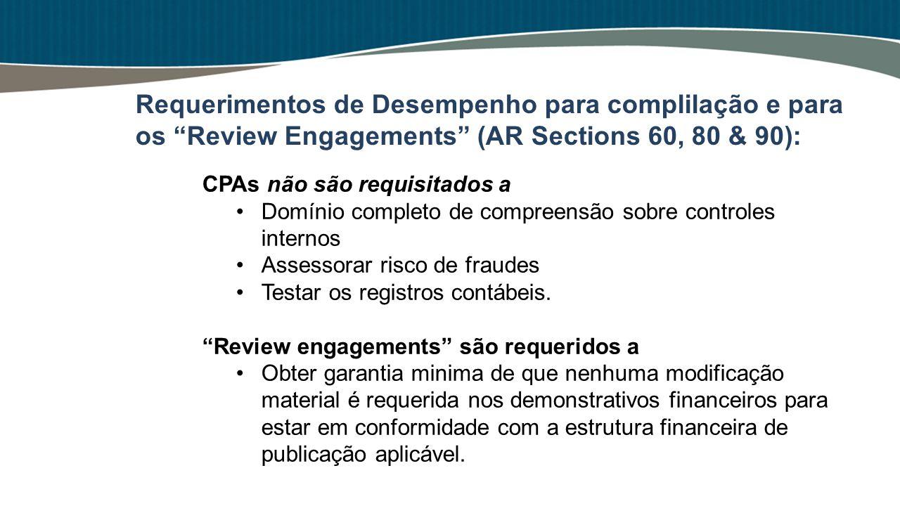CPAs não são requisitados a Domínio completo de compreensão sobre controles internos Assessorar risco de fraudes Testar os registros contábeis. Review