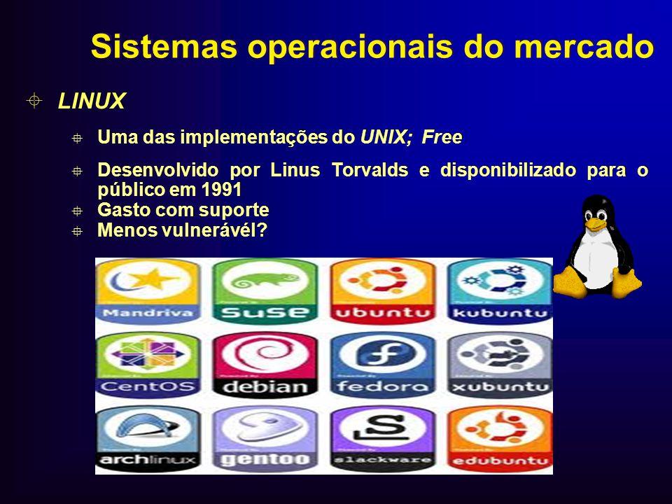 Sistemas operacionais do mercado LINUX Uma das implementações do UNIX; Free Desenvolvido por Linus Torvalds e disponibilizado para o público em 1991 G