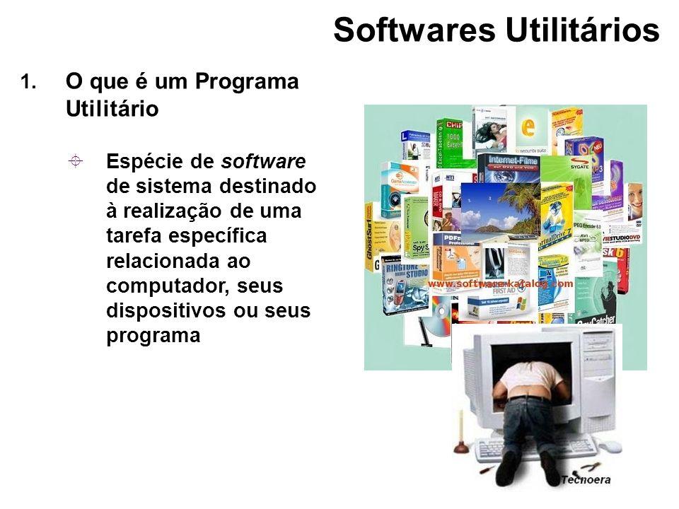 1. O que é um Programa Utilitário Espécie de software de sistema destinado à realização de uma tarefa específica relacionada ao computador, seus dispo