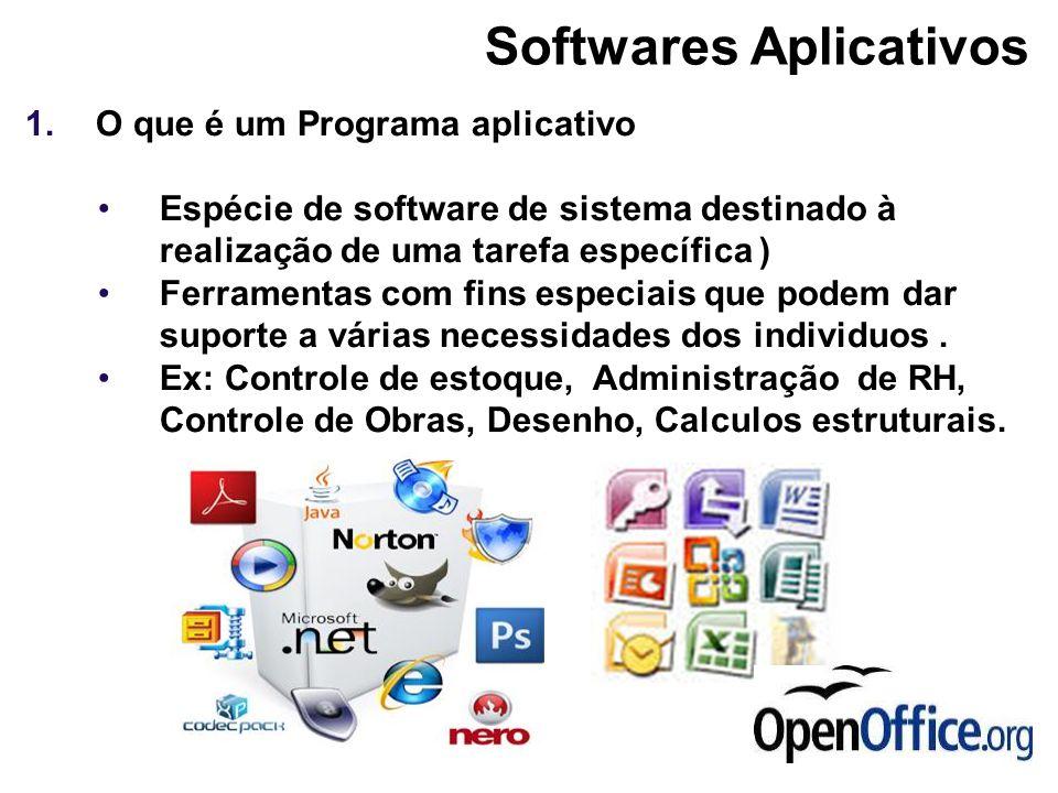 1.O que é um Programa aplicativo Espécie de software de sistema destinado à realização de uma tarefa específica ) Ferramentas com fins especiais que p