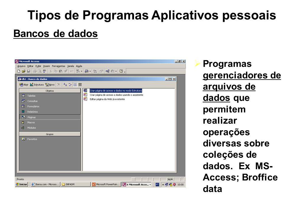 Tipos de Programas Aplicativos pessoais Bancos de dados Programas gerenciadores de arquivos de dados que permitem realizar operações diversas sobre co