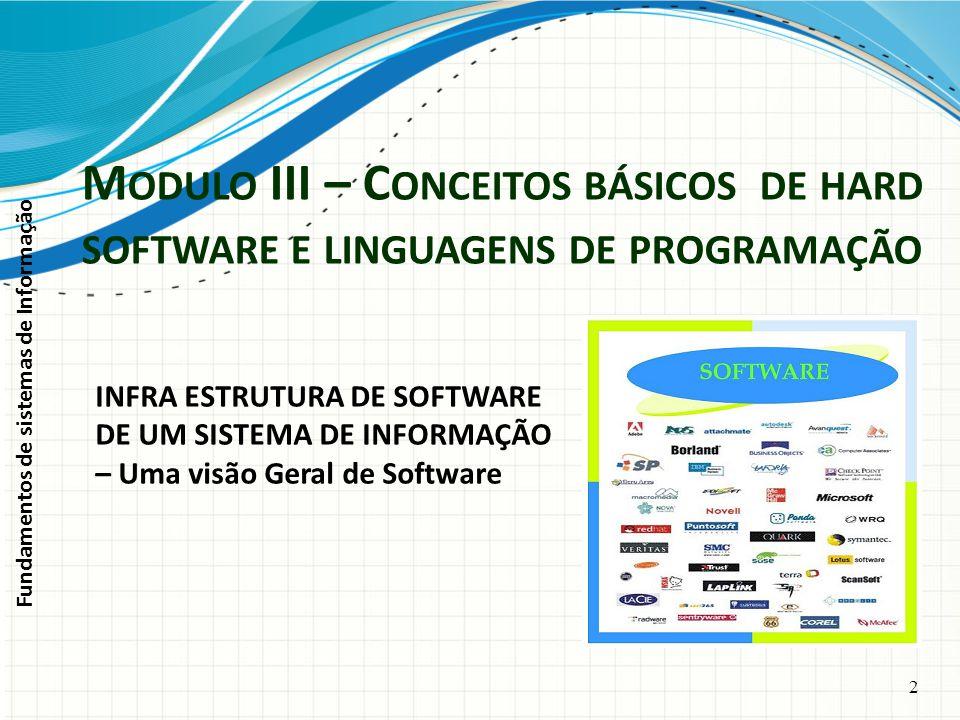 Fundamentos de sistemas de Informação 2 INFRA ESTRUTURA DE SOFTWARE DE UM SISTEMA DE INFORMAÇÃO – Uma visão Geral de Software M ODULO III – C ONCEITOS