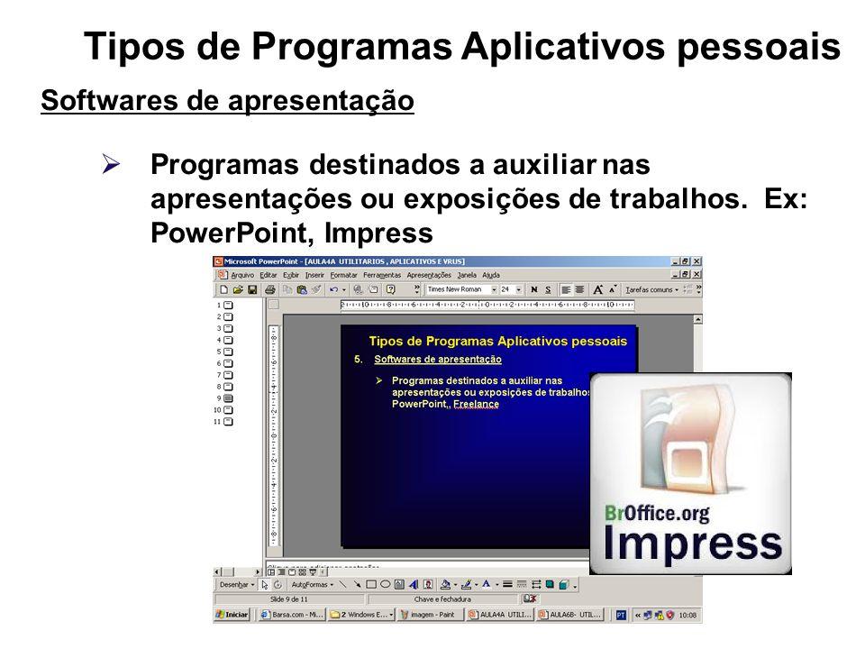 Tipos de Programas Aplicativos pessoais Softwares de apresentação Programas destinados a auxiliar nas apresentações ou exposições de trabalhos. Ex: Po