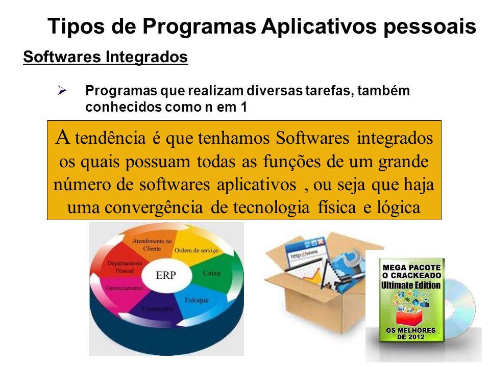 Tipos de Programas Aplicativos pessoais Softwares Integrados Programas que realizam diversas tarefas, também conhecidos como n em 1 A tendência é que