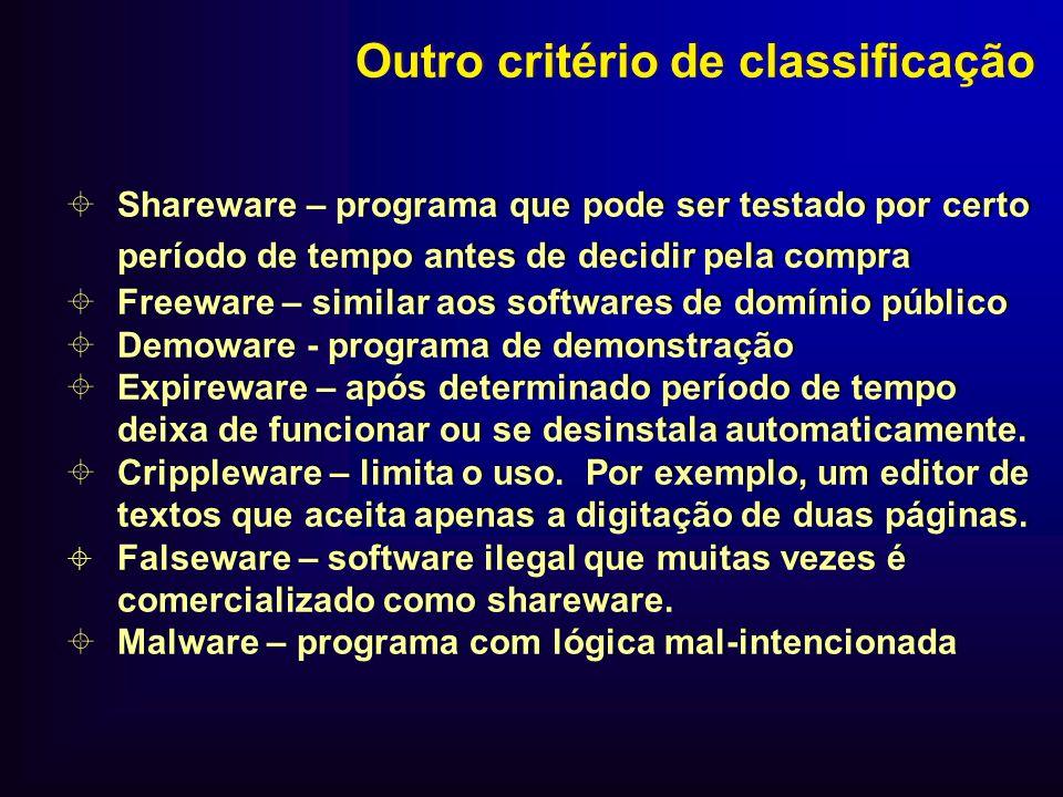 Shareware – programa que pode ser testado por certo período de tempo antes de decidir pela compra Freeware – similar aos softwares de domínio público
