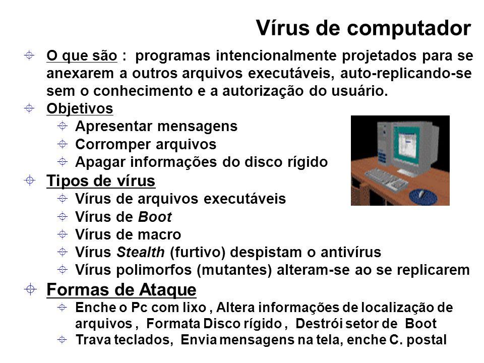 Vírus de computador O que são : programas intencionalmente projetados para se anexarem a outros arquivos executáveis, auto-replicando-se sem o conheci