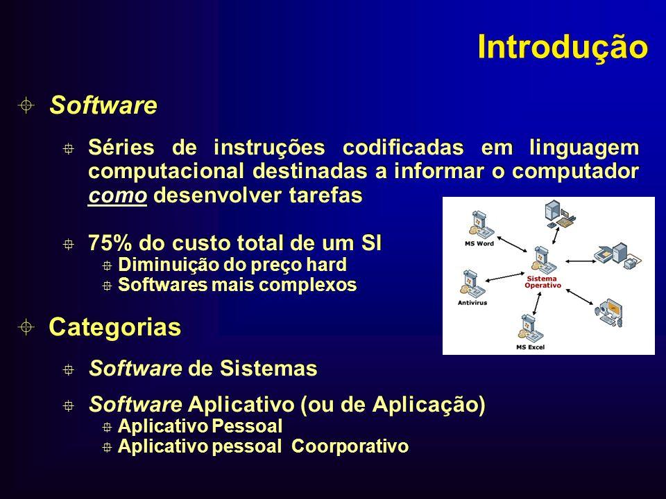 Introdução Software Séries de instruções codificadas em linguagem computacional destinadas a informar o computador como desenvolver tarefas 75% do cus