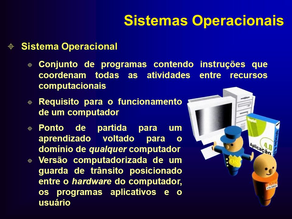 Sistemas Operacionais Sistema Operacional Conjunto de programas contendo instruções que coordenam todas as atividades entre recursos computacionais Si
