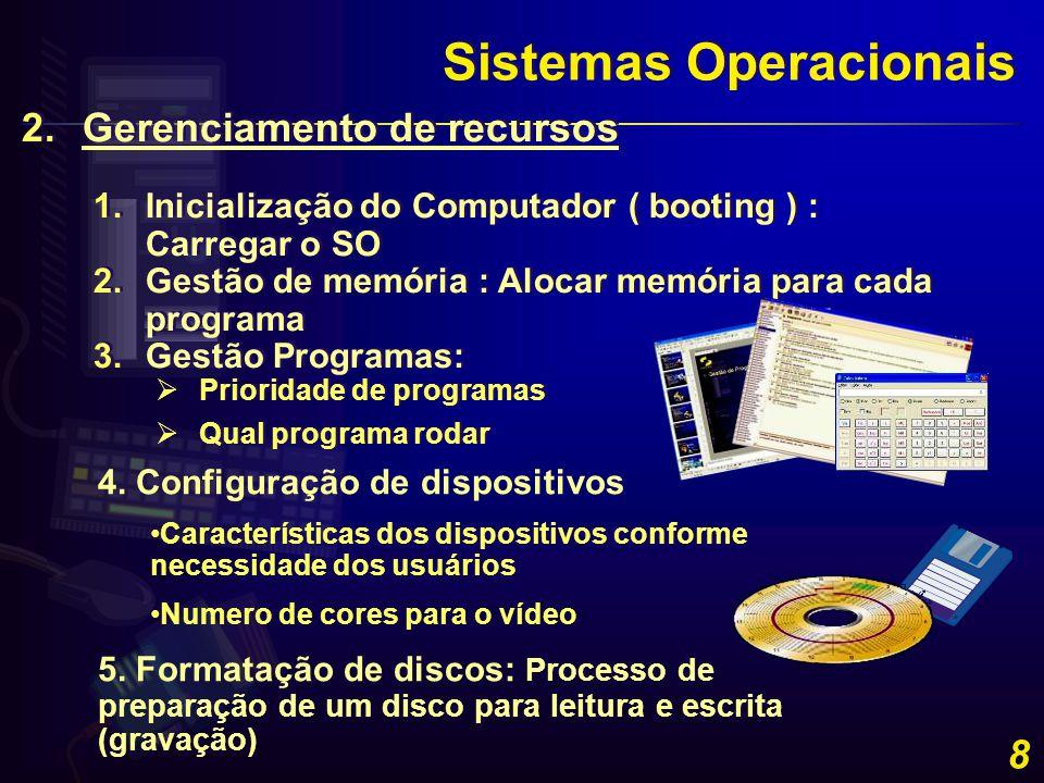 8 Sistemas Operacionais 2.Gerenciamento de recursos 1.Inicialização do Computador ( booting ) : Carregar o SO 2.Gestão de memória : Alocar memória par