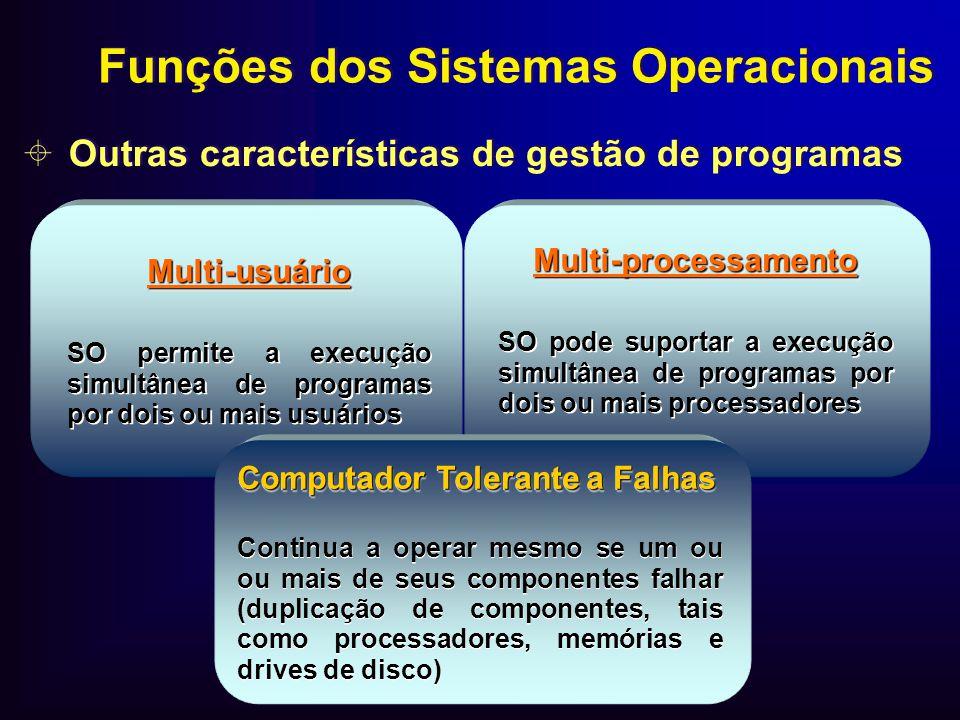 Multi-usuário SO permite a execução simultânea de programas por dois ou mais usuáriosMulti-usuário Multi-processamento SO pode suportar a execução sim